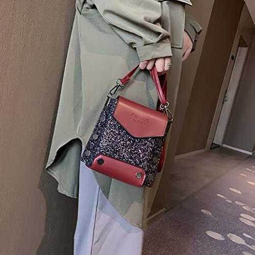 Casual Un lentejuelas Solo Mano Mujer Cuadrado Colgado Pequeño mochila bolsos Moda Mensajero Con bolso beikoard bolsa Muje Casual Hombro Remache Bolso Mujer 2019 Rojo De Bandolera PvqZdqI