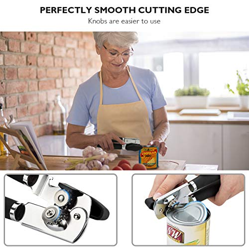 Can Opener Manual Heavy Duty Can Openers Smooth Edge 3-In-1 With Ergonomic Non-slip Rubber Soft Handle Easy Turn Ultra Sharp by LDIRECTOR (Image #1)