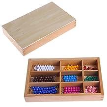 Arich Montessori Mathematics Material 1-9 Beads Bar in Wooden Box Early Preschool Toy Kids Gift