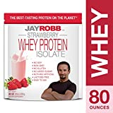 Jay Robb – Grass-Fed Whey Protein Isolate Powder, Outrageously Delicious, Strawberry, 76 Servings (80 oz) For Sale