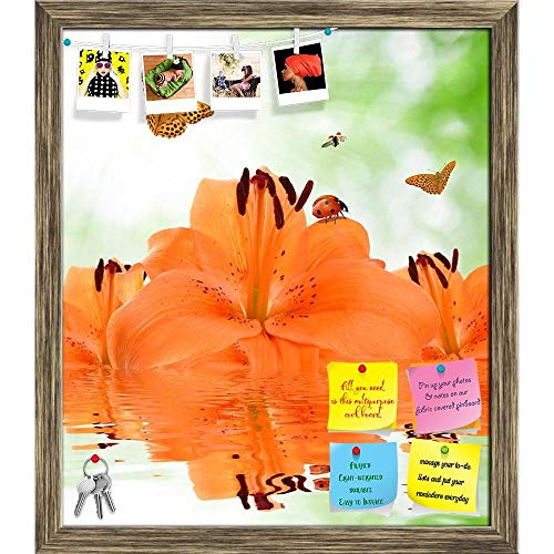 Artzfolio Orange Lily with Butterflies & Ladybugs Printed Bulletin Board Notice Pin Board Cum Antique Golden Framed Painting 12 X ()