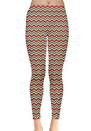CowCow Womens Red Green Chevron Zig Zag Christmas Leggings, Zig Zag - L for $<!--$16.99-->