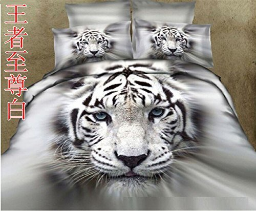 Home Textile 3D Effect Print white tiger 4pcs Bedding Sets,Cotton100% material beautiful Creative animal bedding setsQueen Size Christmas Gifts For Family by F SIGHT bedding