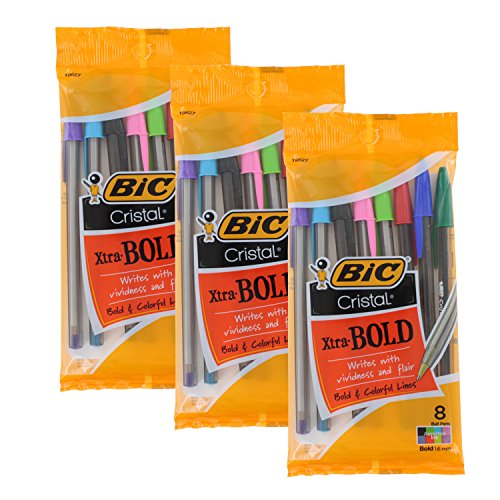 Wholesale Bic Cristal Xtra Bold Stick Ballpoint Pens, 1.6mm, Bold Point, Assorted Colors, Pack of 24 for cheap