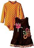 Baby Girls 3M-24M Thanksgiving-Theme Applique Corduroy Jumper Dress (24 Months, Brown)