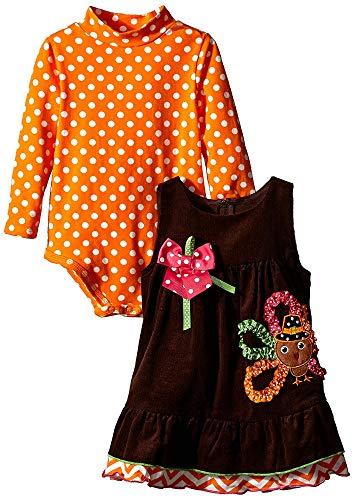Baby Girls 3M-24M Thanksgiving-Theme Applique Corduroy Jumper Dress (24 Months, Brown) ()