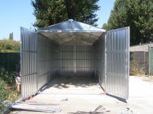 Box Caseta de chapa galvanizada con estructura de acero galvanizado MT. 7,60 X 2,60 x 2,11 H con puerta a dos puertas Mod. sapilbox: Amazon.es: Jardín