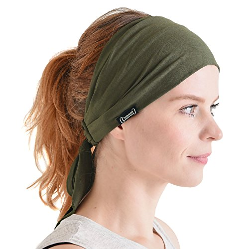 CHARM Men Hippie Japanese Headband - Women Hair Band Boho Bohemian Head Wrap Pirate Bandana Khaki
