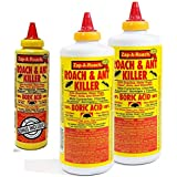 Boric Acid Roach & Ant Killer - Pest Control 1 LB Bottle (454 Grams) - 2 Pack + Bonus Bottle