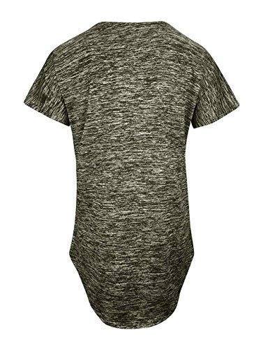 Camicie Tumblr Maglietta Bluse Collo Shirts Moda V Donne Irregolare Corta Manica T Verde Tops qwgFFS