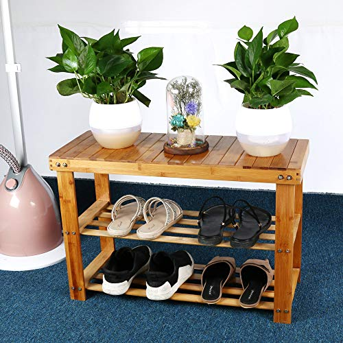 LtrottedJ Bamboo Stool Shoe Cabinet Shoe Rack Garden Foot Stool Storage Stool Simple Style (4 Step Tiny Pet Stairs)