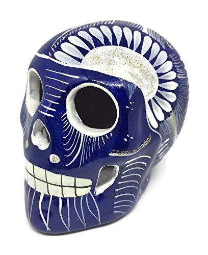 Blue and White Day of the Dead Ceramic Sugar Skull Mexico Hand Made Decor Calavera Dia de Los Muertos Halloween Glossy