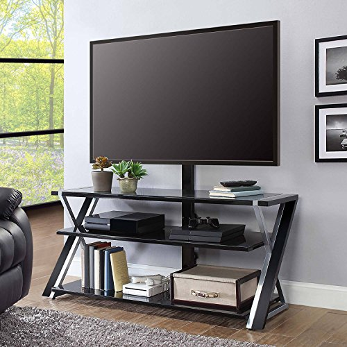 Elegant Media Storage, Sturdy & Long-Lasting Glass & Metal Construction, 3-in-1 Display System, Swivel Mount Pans 45 Degrees Left or Right, Fits TVs up to 70