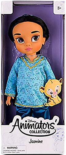 Disney Princess Animators' Collection Toddler Doll 16'' H - Jasmine with Plush Friend Raja