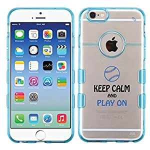 For iPhone 6 (4.7) Keep Calm and Play Baseball Glassy Transparent Clear/Transparent Gummy Cover. (Baby Blue)