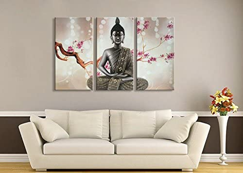 Winpeak Pure Handmade Large Framed Canvas Art Buddha Oil Paintings on Canvas 3 paenl Wall Decor Picture Artwork Hanging for Living Room Stretched Ready to Hang 60 W x 40 H 20 x40 x3pcs