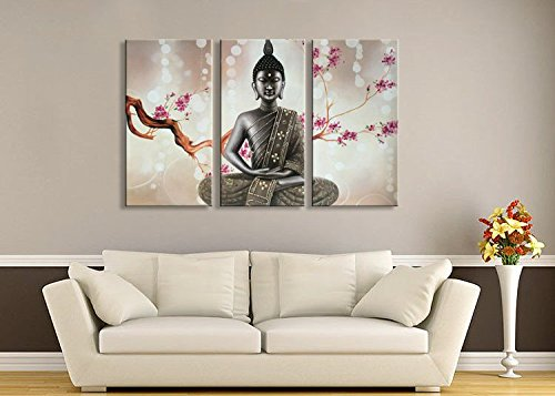 Winpeak Pure Huge Handmade Framed Canvas Art Buddha Oil Paintings on Canvas 3 paenl Wall Decor Picture Artwork Hanging For Decoration Stretched Ready to Hang (72''W x 48''H (24''x48'' x3pcs)) by Winpeak Art