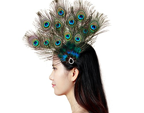 Handmade Feather Peacock Costume Hair Clip with Feather and Pearl Hat Accessory ()