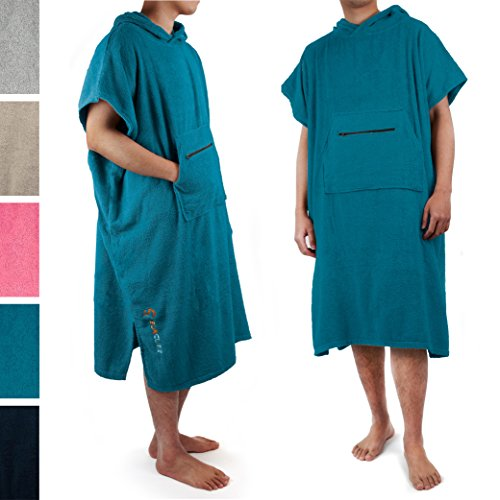 SUN CUBE Surf Poncho Changing Robe with Hood |Terry Cotton Changing Towel (Sea Blue)
