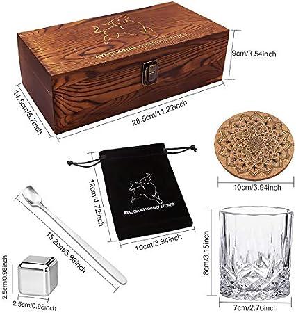 Juegos de regalo de whisky para hombres, juego de vasos de whisky con 6 cubitos de hielo reutilizables de acero inoxidable, 2 posavasos clásicos, cuchara mezcladora, bolsa de terciopelo.