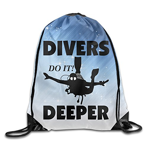 Price comparison product image Creative Design Scuba Divers Do It Deeper Diving Water Funny Drawstring Backpack Sport Bag For Men And Women