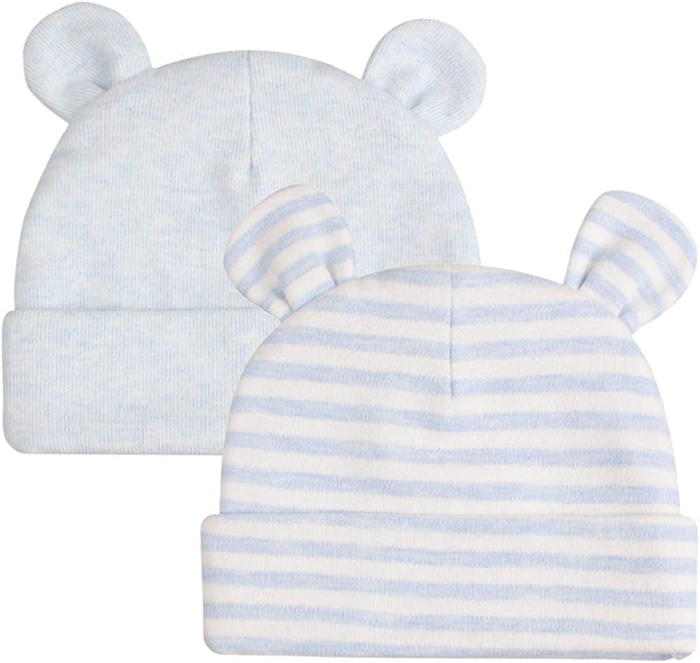 Original Cotton Newborn Beanies Striped Cute Baby Hat for Boys Girls Bear Ears Infant Beanie 2-Pack