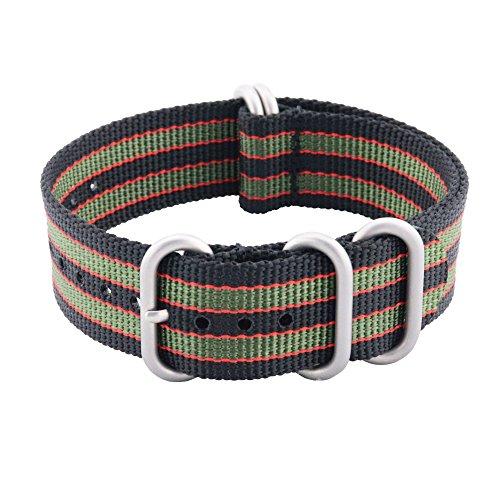 - WQ Zulu NATO Pure Nylon Watch Strap 22mm with Premium Ballistic Replacement Men Women Strap (22mm-Black/Red/Green)