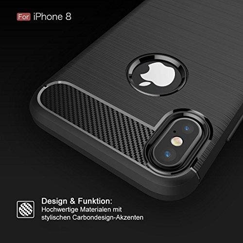 Hülle für iPhone X Brushed Carbondesign TPU Silikon Handyhülle in Schwarz von wortek