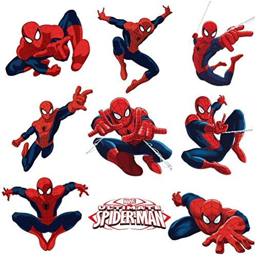(PZ Spiderman Sticker Pack for Kids Room Wall Decor | Peel and Stick Wall Decal for Ultimate Spider-Man Party Decoration)