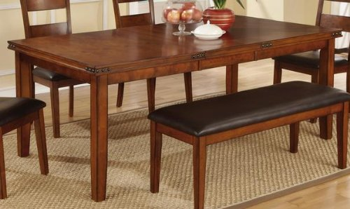 rustic style antique medium oak solid wood dining table by poundex