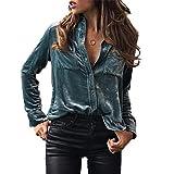 Howstar Women's Long Sleeve Tops Solid Velvet Lapel Coat For Women Shirt Blouse (XL, Blue)