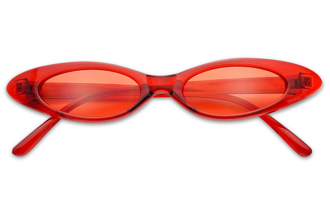 Small Ultra Slim Colorful Translucent Vintage Oval Cat Eye Sun Glasses (Crystal Red) by SunglassUP