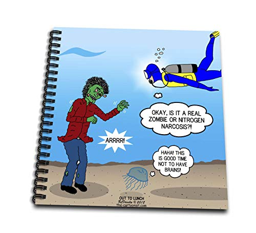 (3dRose Rich Diesslins Funny Out to Lunch Cartoons - Underwater Zombie or Scuba Diver Nitrogen Narcosis - Drawing Book 8 x 8 inch)