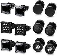 Thunaraz 6 Pairs Black Stainless Steel CZ Stud Earrings Set for Men Women Black Cubic Zirconia Earrings Pierci
