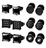 LOLIAS 6 Pairs Black Stainless Steel CZ Stud Earrings Set for Men Women Black Cubic Zirconia Earrings Piercing,Black