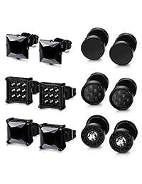 Thunaraz 6 Pairs Black Stainless Steel CZ Stud Earrings Set for Men Women Black Cubic Zirconia Earrings Piercing