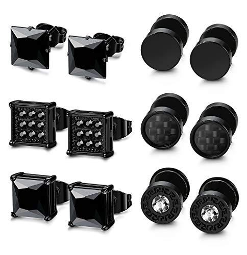 LOLIAS 6 Pairs Black Stainless Steel CZ Stud Earrings Set for Men Women Black Cubic Zirconia Earrings Piercing
