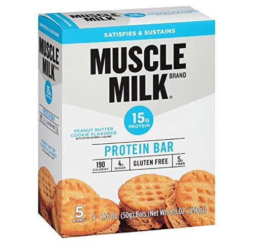 Muscle Milk Protein Bar, Peanut Butter Cookie, 5 Bars, 8.8 oz (ONE Box) (Milk Peanut)