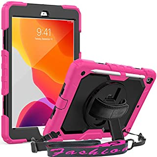 iPad 7th/8th Generation 10.2 Case, SEYMAC 3 Layer Shockproof Case with [Built-in Screen Protector] Pencil Holder 360° Swivel Stand [Hand Strap] for iPad 10.2 inch 8th Gen 2020/7th Gen 2019(Pink/Black)