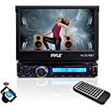 Pyle In-Dash Single-Din 7-inch Motorized Wireless Bluetooth Streaming Touchscreen DVD/CD/USB/SD/MP4/MP3 Player Receiver Bluetooth Hands-free with Remote