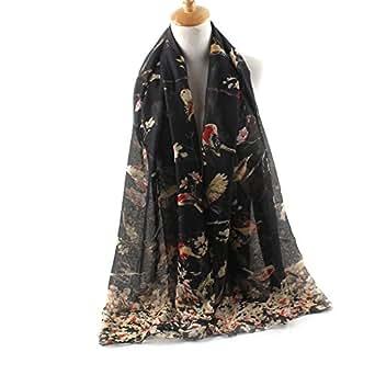 ctshow Spring birds Print Voile Print Scarf Fashionable Women Scarves shawl