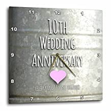 3dRose 10th Wedding Anniversary gift - Tin celebrating 10 years together - tenth anniversaries ten yrs - Wall Clock, 10 by 10-inch (dpp_154441_1)