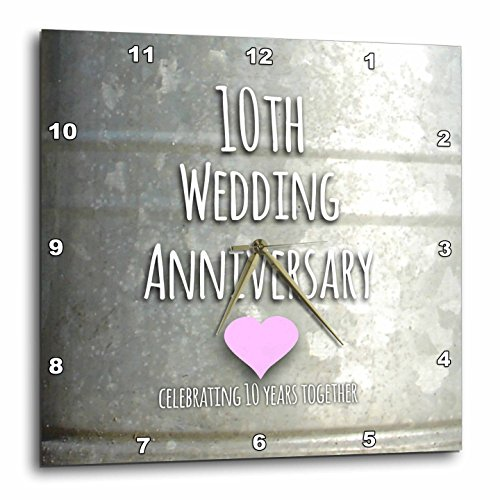 3dRose DPP_154441_1 10Th Wedding Tin Celebrating 10 Years Together Tenth Anniversaries Ten Yrs Wall Clock, 10 by 10-Inch (Tin Anniversary Gift)