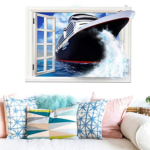 Amazon.com: Bdhnmx 3D Wall Stickers Star Galaxy Space Beach Ship Home Decor Art Fake Window New Wall Removable Stickers 60X90Cm: Baby