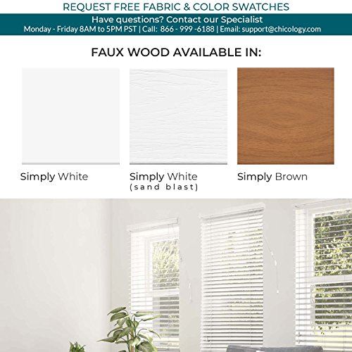 CHICOLOGY Custom-Made 2-Inch Faux Wood Blind, Simply White/Horizontal Window Shade/Inside Mount, 41.5'' W X 36'' H by CHICOLOGY (Image #2)