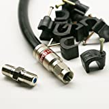 90ft BLACK TRI-SHIELD DIRECT BURIAL UNDERGROUND RG-11 COAXIAL CABLE 14AWG 75 Ohm GEL BRAIDED WEATHER SEAL BRASS CONNECTORS BARREL AND 10 NAIL CLIPS INCLUDED ASSEMBLED IN USA by PHAT SATELLITE INTL