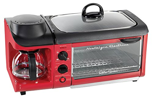 3-in-1 Electric Breakfast Station Toaster w/ Digital Clock Timer and Lid ,Red