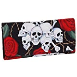 Skulls & Roses Flowers Black Tri Fold Wallet Womens Girls Clutch (Black/Multi)