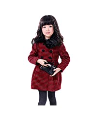 Girls Kids Toddlers Thick Wool Classic Plaid Dress Coat Jacket Windbreaker