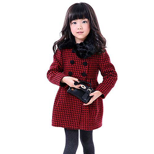 Girls Kids Toddlers Thick Wool Classic Plaid Dress Coat Jacket ()